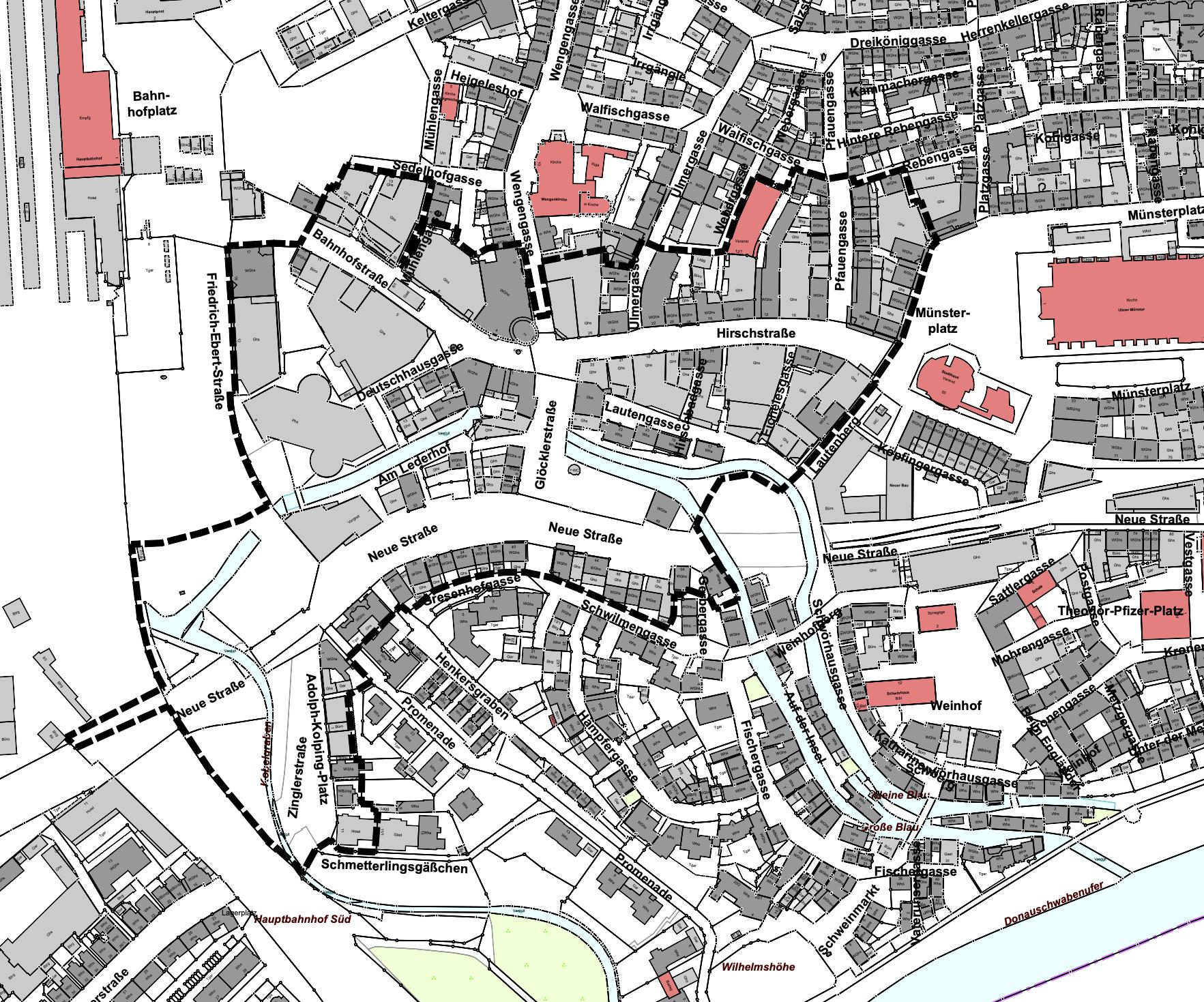 Karte mit der Abgrenzung des Sanierungsgebietes rund um die Fußgängerzone Hirschstraße/Bahnhofstraße
