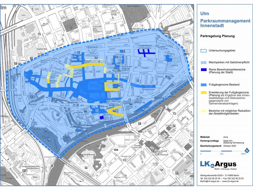 Kartenentwurf des geplantes Parkraummanagement in der Innenstadt